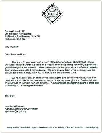 Thank you letter from ABGSL